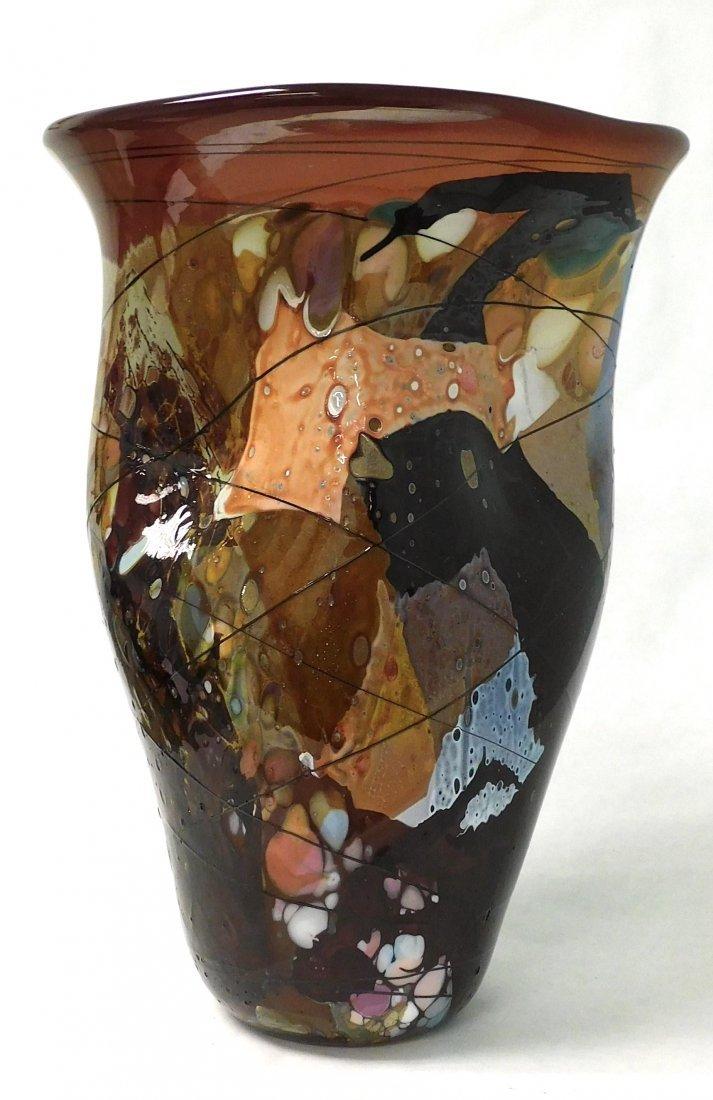 John Gerletti Signed and Dated Studio Art glass vase