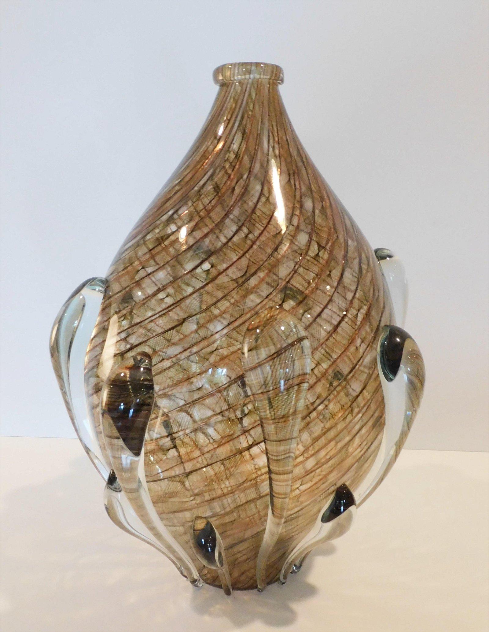 Lino Tagliapietra Murano Art Glass Vase in Complicated