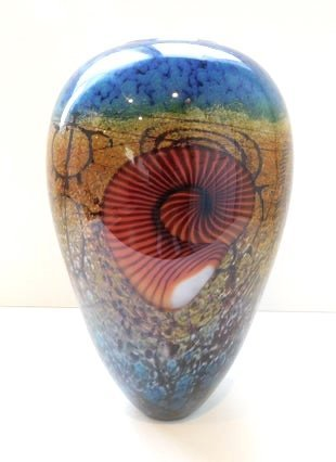 Rick Satava Amonite Sea Shell Art Glass Vase Signed by