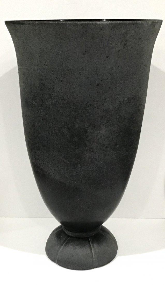 Karl Springer Signed Murano Art Glass Urn in Corrosso