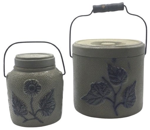 Pair Stoneware handled jars