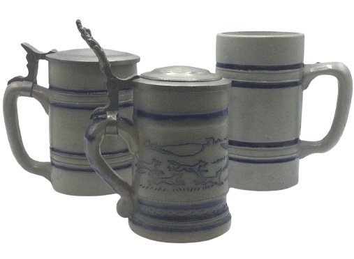 3 Stoneware covered mugs 1 missing lid as shown