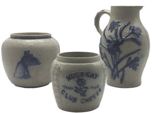 3 stoneware pieces 2 jars and 1 pitcher form