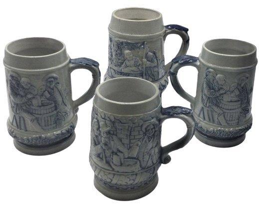 4 stoneware mugs with cobalt blue decoration