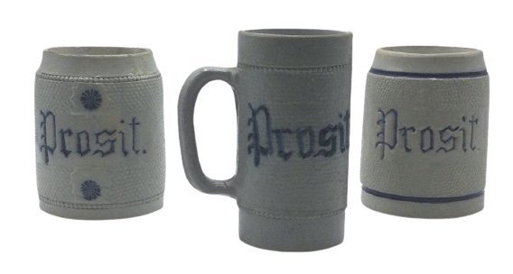3 prosit stoneware mugs with cobalt decoration