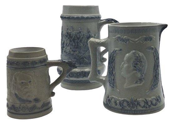 2 stoneware mugs and 1 pitcher form cobalt blue