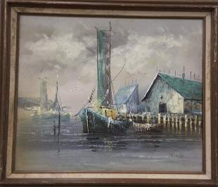Oil on Canvas of ship scene signed Thomas