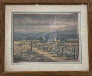 Signed and framed farm scene Lithograph