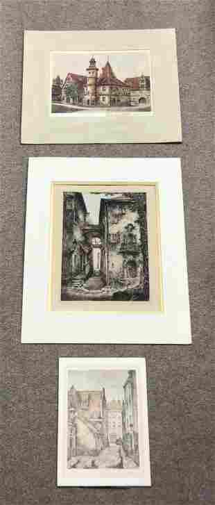 Trio of Unframed Architectual Prints