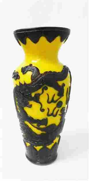 SIGNED Early Peking glass Dragon Vase