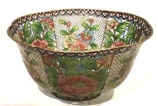 Large Chinese Plique A Jour Bowl Original Box