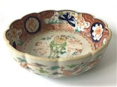 Antique Signed Chinese Porcelain Scalloped bowl with