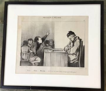 Professeurs Et Moutards French Etching