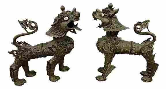 Large Bronze or Brass Pair sculptural foo dogs