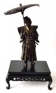 Large Japanese Samurai Bronze sculpture signed by the