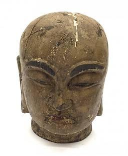 Carved Wood Meiji Era Buddha sculpture head with
