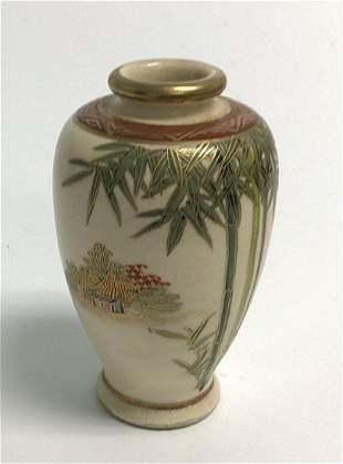 Meiji Era Satsuma vase with tree decoration signed by