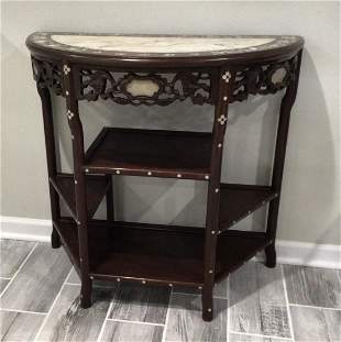 Meiji Era Chinese Mother of Pearl Inlaid Demilune Table