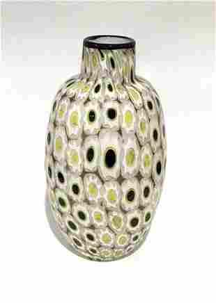 Renzo Pavanello Vibrant Murano Murrine vase in yellow