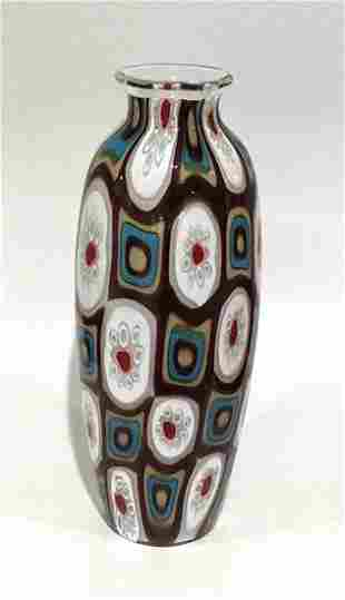 Renzo Pavanello Vibrant Murano Murrine vase in purple