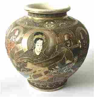 Meiji Era Monumental Satsuma Vase with Dragon decor