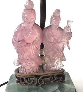 Amazing Carved Chinese Stone Lamp quartz tourmaline