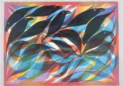 Kenojuak Ashevak Gulls and Ravens Lithograph Inuit Art