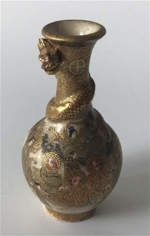 Meiji Era Miniature Satsuma Vase with Dragon Signed
