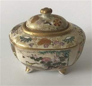 Covered Vase Meiji Era Miniature Satsuma Vase signed
