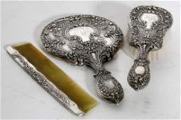 Gorham Buttercup Sterling Silver Repousse Dresser Set