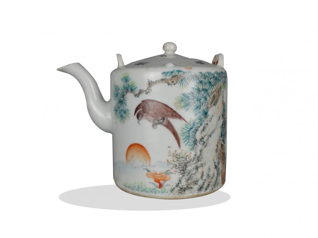 Early 20th century colored porcelain teapot