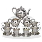 Chinese Qing Dynasty sterling silver teapot and tea set
