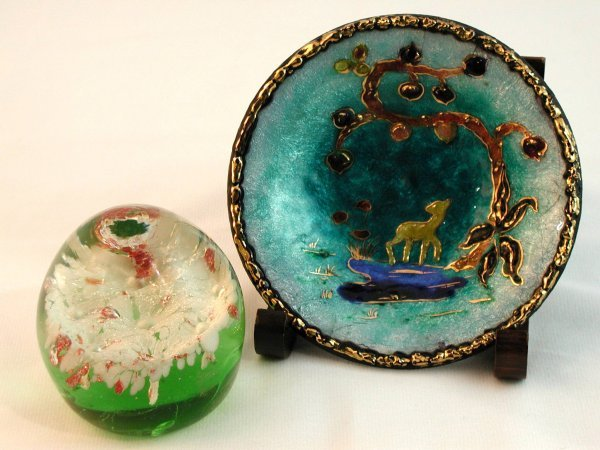 10: LIMOGES ENAMELED AND GLASS PAPERWEIGHT SIGNED