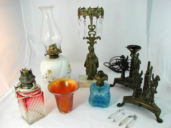 17: LOT SIX LAMPS AND LAMP PARTS BACCARAT?