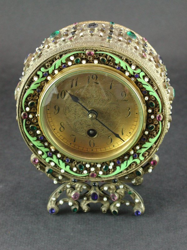 1514: ELABORATE EMBELLISHED AUSTRIAN TABLE CLOCK