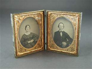 PAIR OF LEATHER FRAMED DAGUERREOTYPES