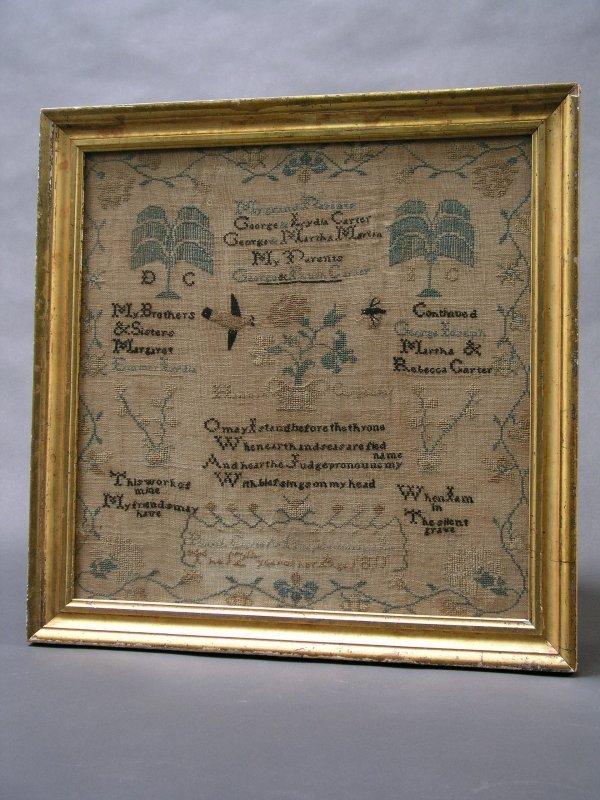 1016: AMERICAN NEEDLEWORK SAMPLER WITH FAMILY REGISTER