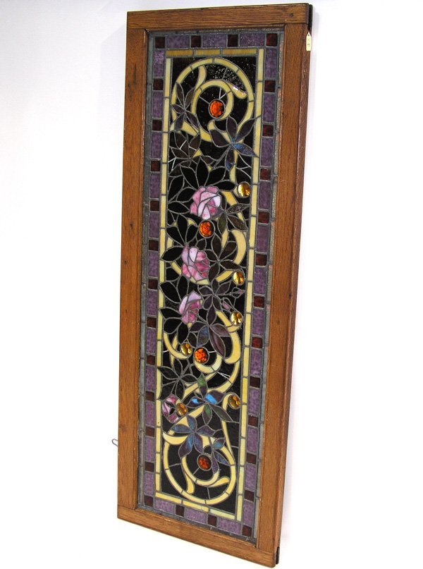"""1002: Stained glass window """"Lavender Rose"""" Tiffany styl"""