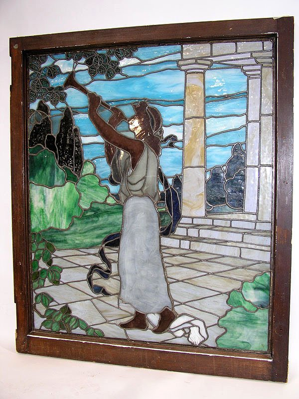"""1003: Antique stained glass window """"Gabriel"""" Tiffany st"""