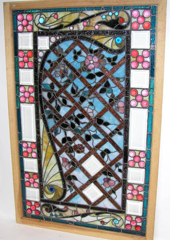 """1005: Stained glass door panel """"Red Ruby Jewel"""" Tiffany"""
