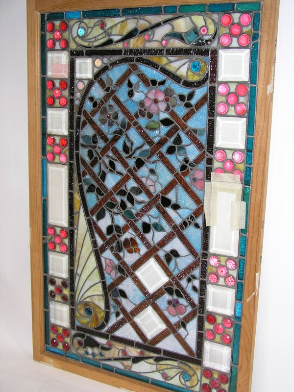 """1006: Stained glass door panel """"Red Ruby Jewel"""" Tiffany"""