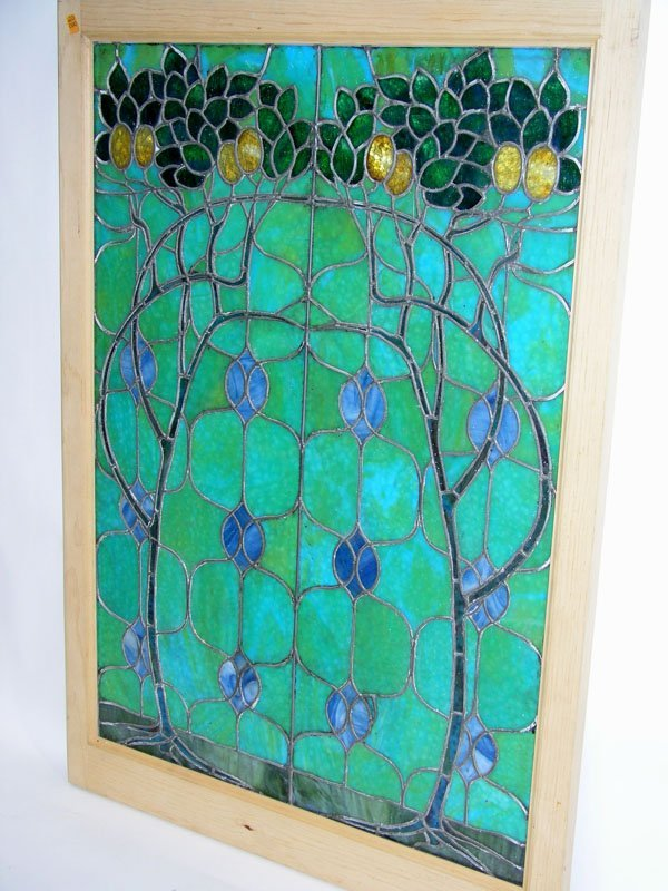 1007: Stained glass panel image of vines and flowers