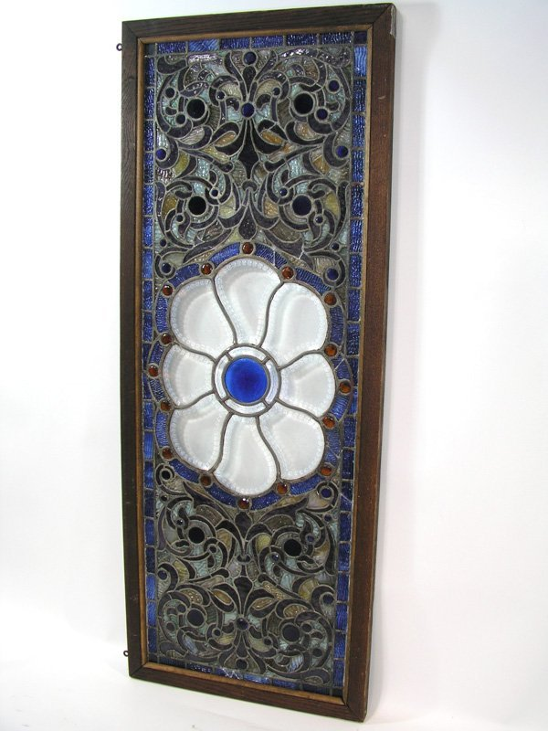 1008: Stained glass panel large zipper beveled glass