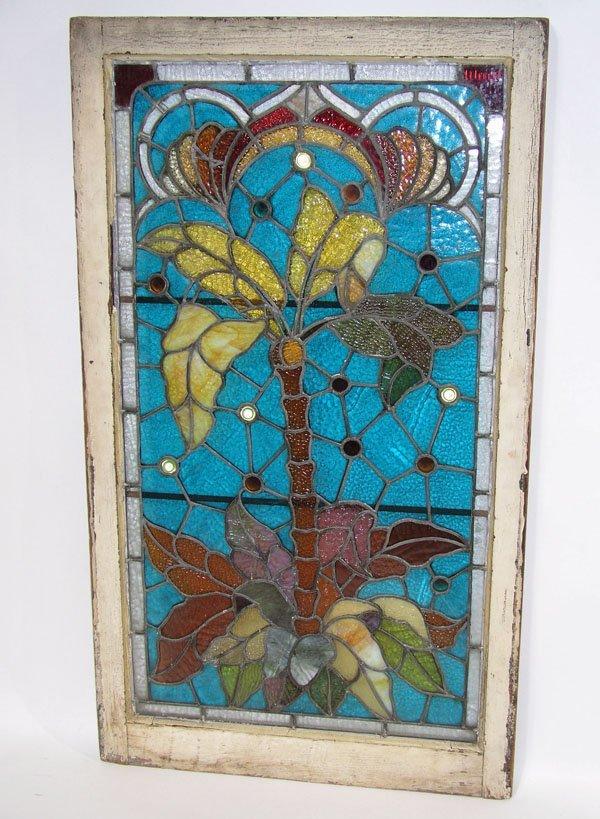 1009: Stained glass window tropical palm tree Tiffany