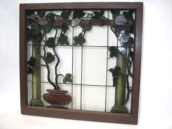 1010: Antique stained glass window Tiffany style Americ