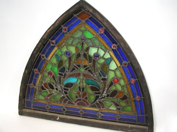 1011: Antique stained glass arched window Tiffany style
