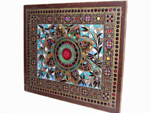 1012: Antique stained glass window Tiffany style Americ