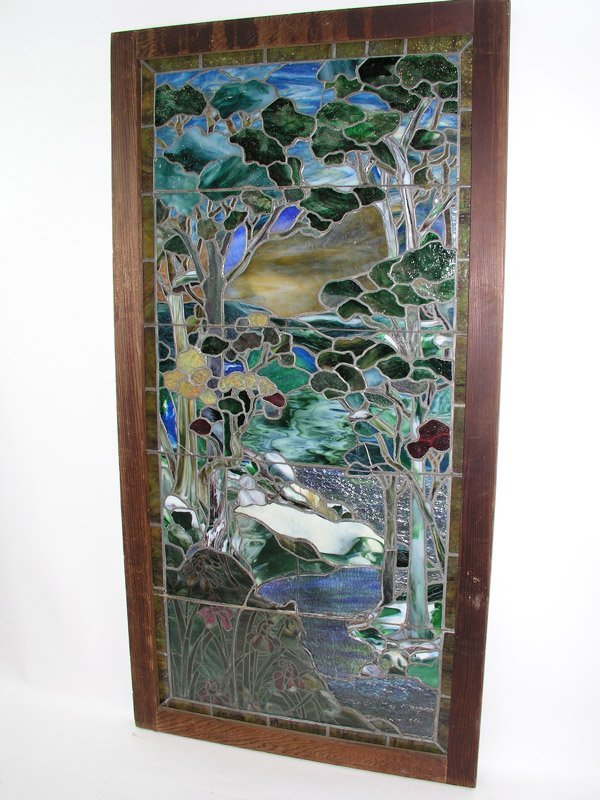1013: Antique stained glass window Tiffany style
