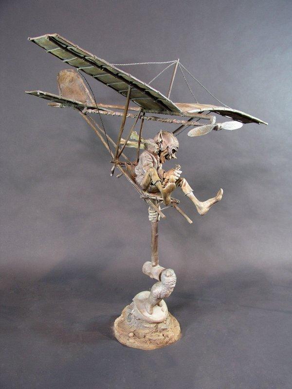 """1014: Bronze Garden Statue Sculpture """"Aviator"""" D. Goode"""