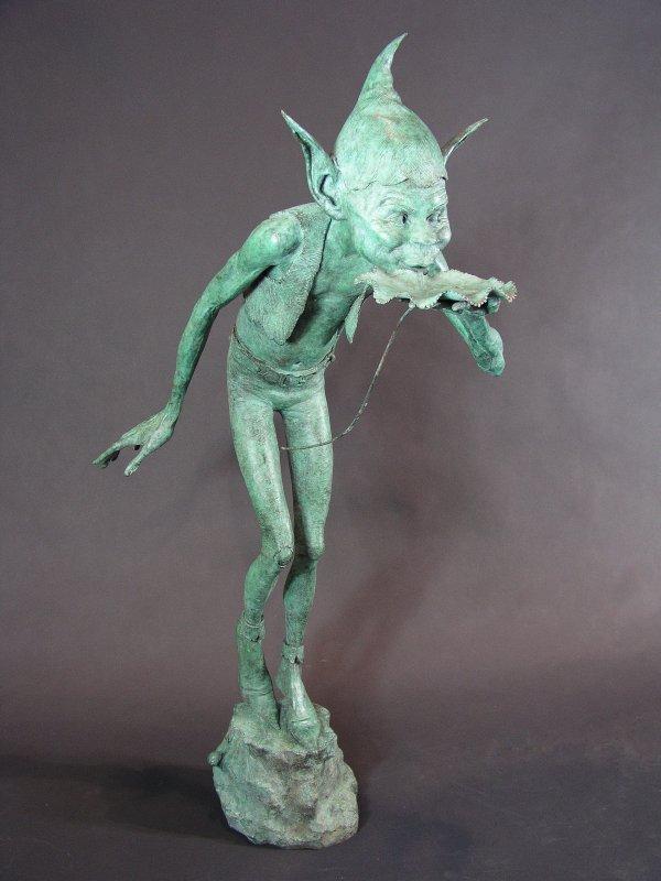 "1015: Bronze Garden Statuary Fountain ""The Drinker"" by"
